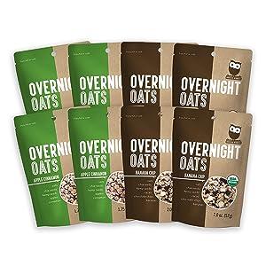 Overnite Organics Apple Cinnamon & Banana Chip Overnight Oats Variety Pack, Vegan Friendly, USDA Organic, Good Source of Protein, High Fiber, 1.75oz-2oz Packages (Pack of 8)