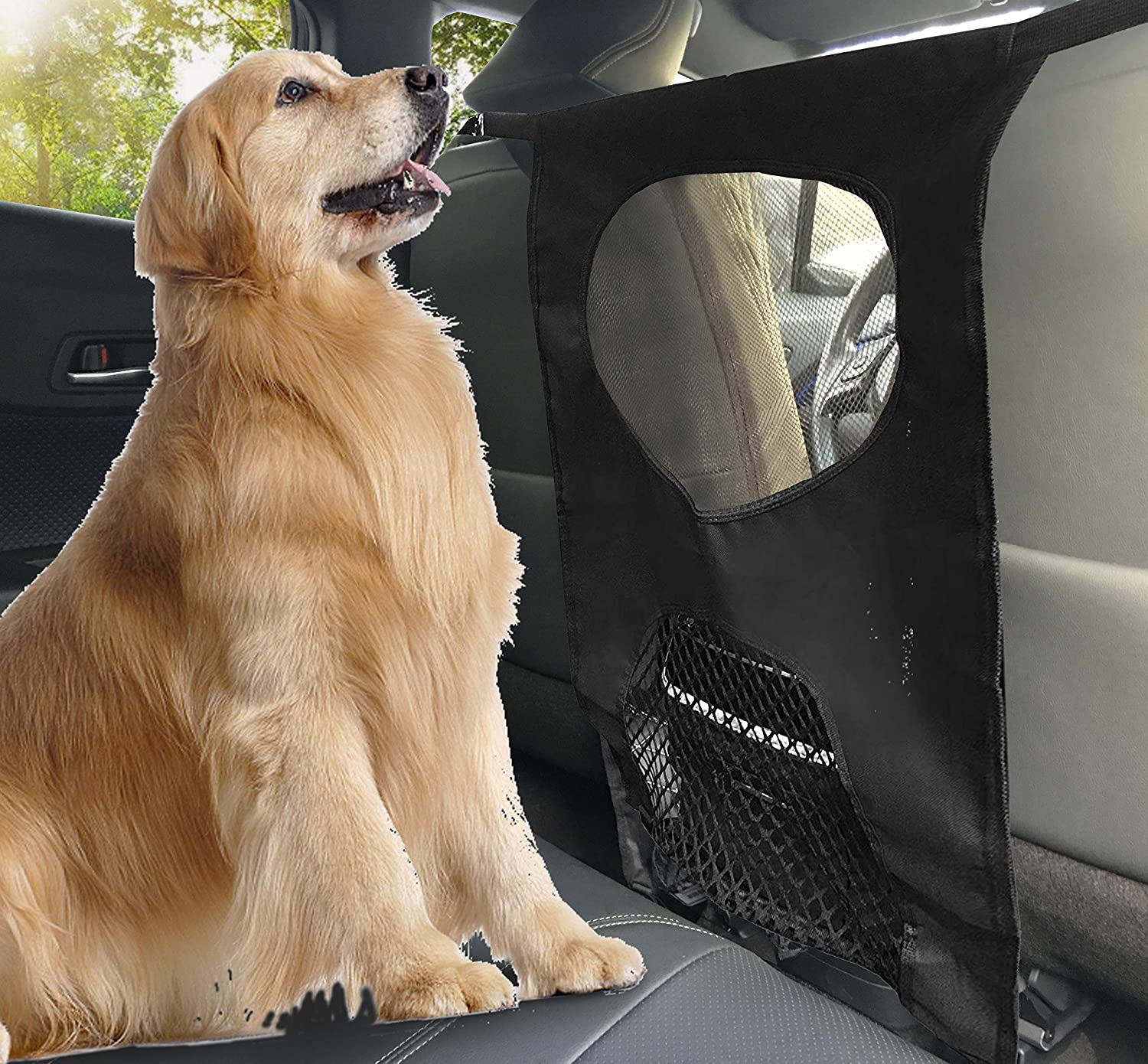 Pet Net Barrier Lifepul(TM) Dogs Backseat Barrier Mesh Obstacle Dog Car Fence Mesh to Keep Your Pets and Drivers Safety inTravel One Size Fit Most & Easy to Install for CarSUVTruck