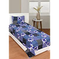 Dynamic Homes 100% Cotton Single Size Bed Bedsheet with 1 Pillow Covers (Multi Color)