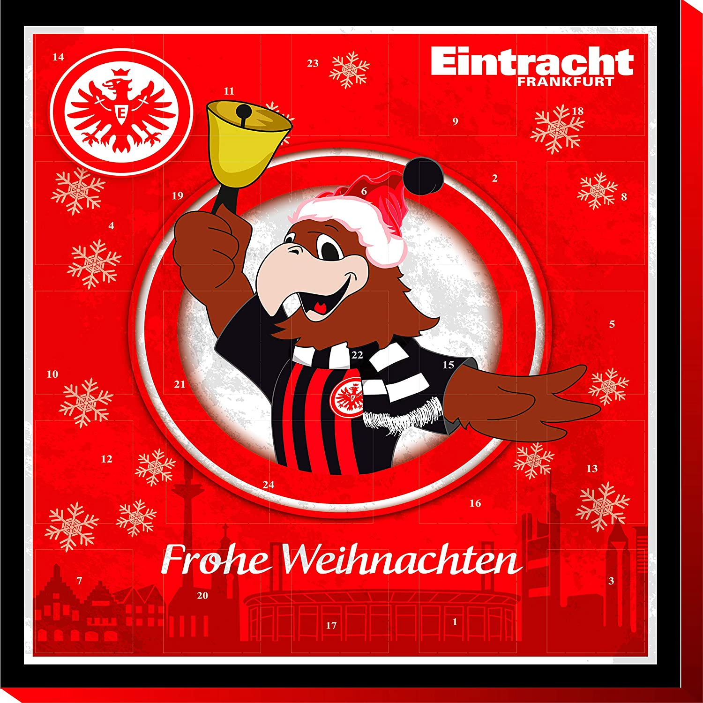 Eintracht Frankfurt Premium Schoko-Adventskalender, Weihnachtskalender (200g), mit 25 großen Schoko-Talern mit einem tollen Vereinsposter und GRATIS Aufkleber