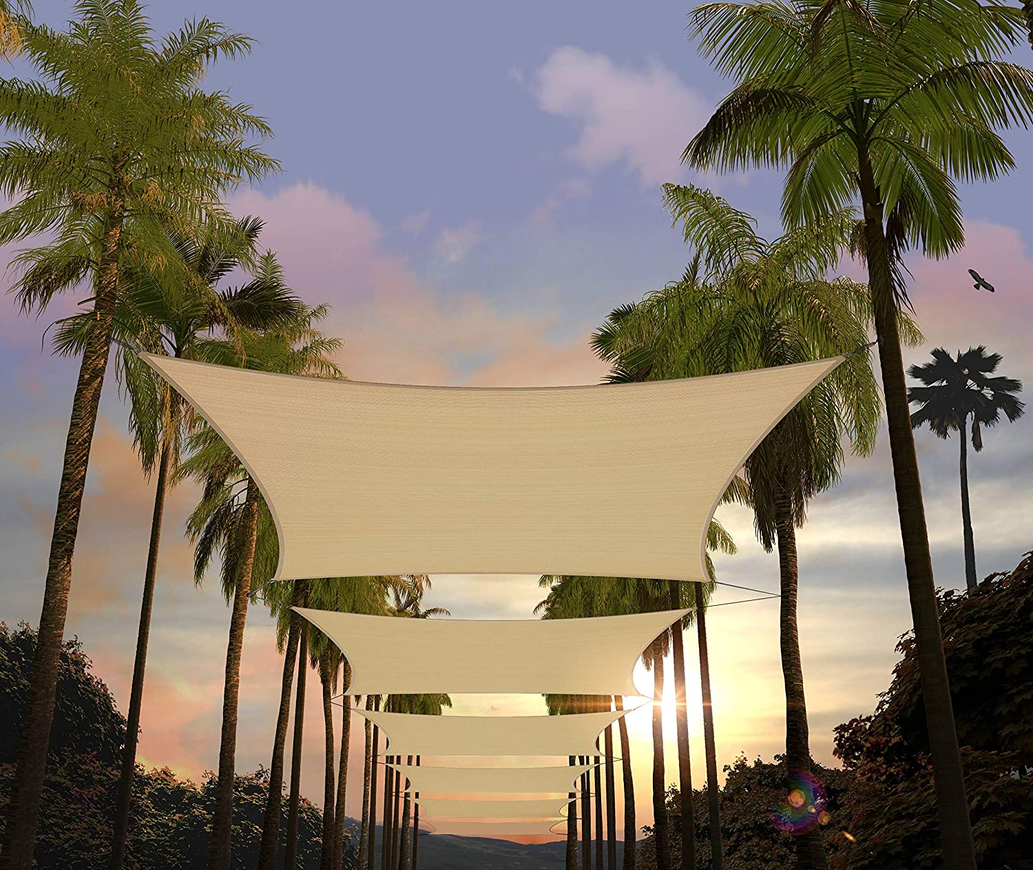 Amgo 14' x 20' Beige Rectangle Sun Shade Sail Canopy Awning Shelter Fabric Screen - UV Block UV Resistant Heavy Duty Commercial Grade - Outdoor Patio Carport - (Available for Custom Sizes)