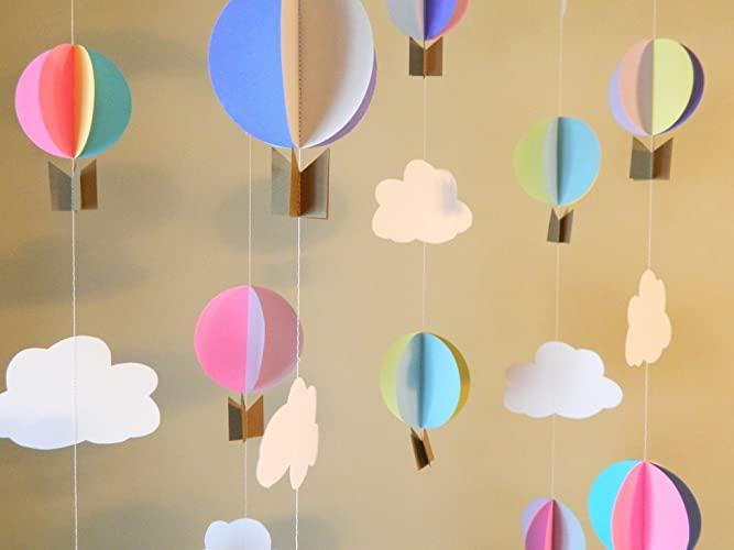 Amazon Com Hot Air Balloon Garland Up Up And Away Baby Shower