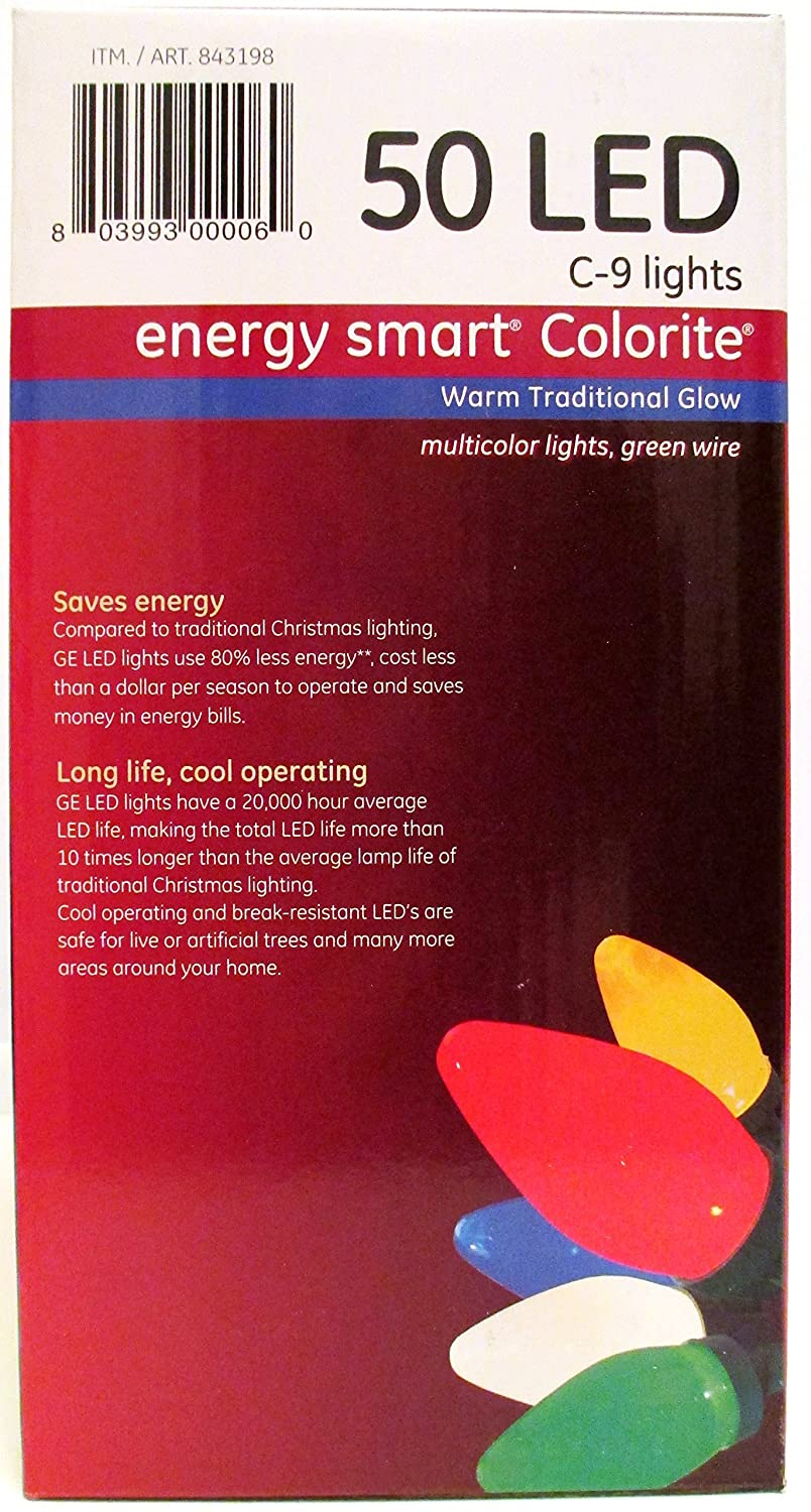 amazoncom ge energy smart 50 multicolor led c 9 holidaychristmas lights 326ft string indooroutdoor 1 home improvement