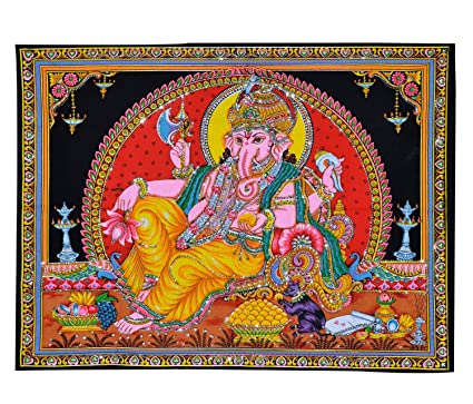 Amazon.com: Lord Ganesha Indian Tapestry Wall Hanging Home ...