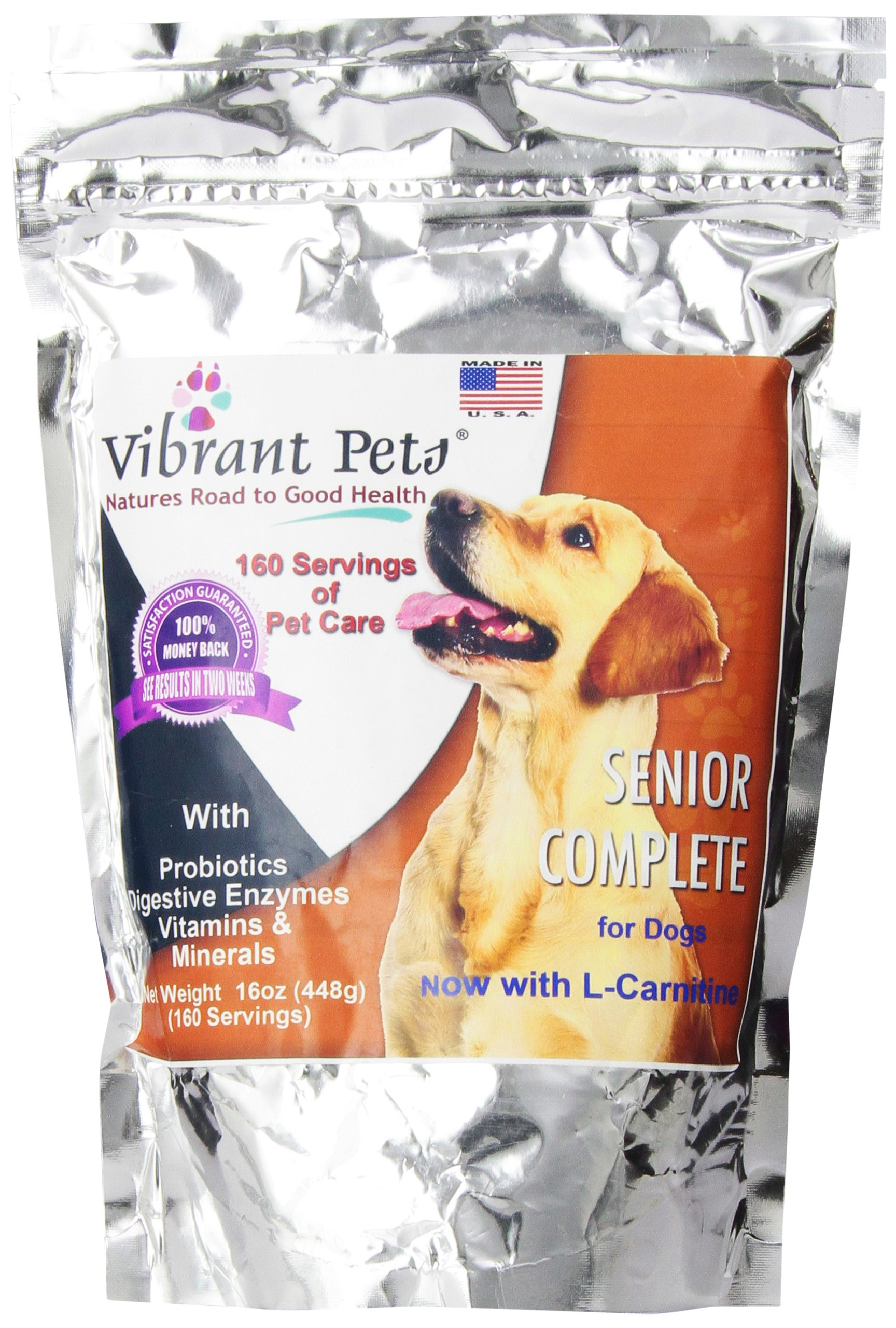 Vibrant Pets Senior Complete Dog Immune System Supplement   Older Dog Muscle and Joint Supplement with Probiotics & Enzymes for Digestion   Nutrient-Rich Skin & Coat Immune Booster Powder 16oz