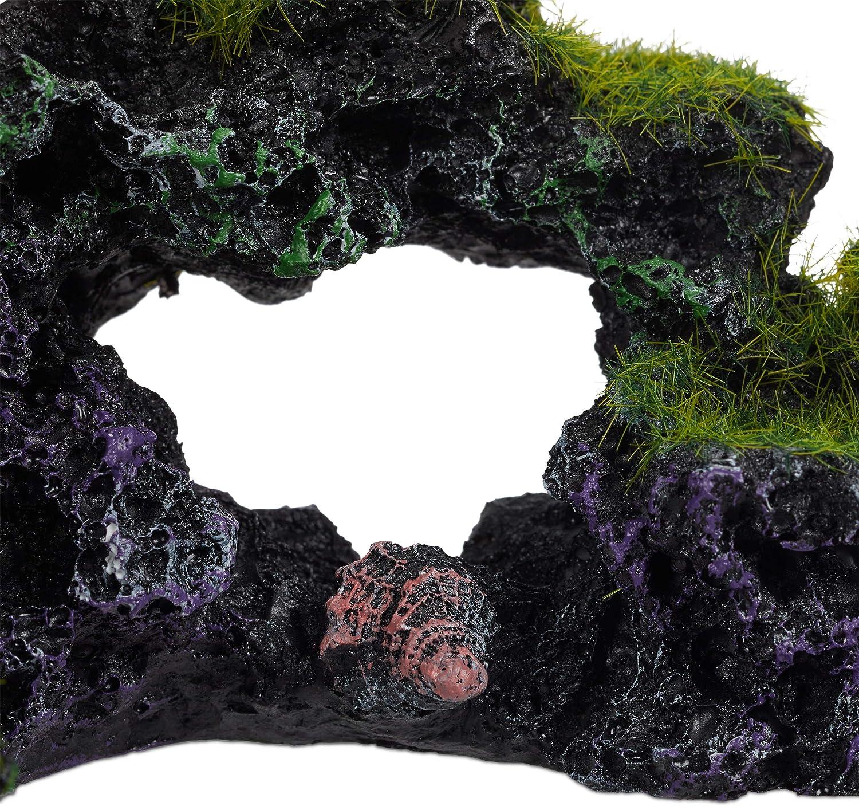 1 Ud Adorno Rocoso Escondite 8,5x17cm Negro-Verde Piedra Decorativa Relaxdays Decoraci/ón Acuario Roca 8.5 x 17cm Poliresina