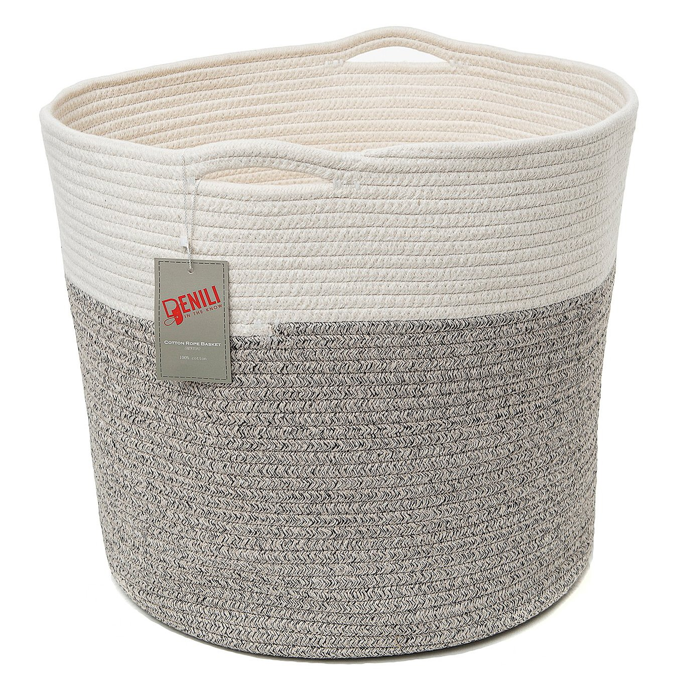 """Storage Basket   17"""" x 15"""" for Laundry, Gift, Picnic, Nursery, Kid's Toys, Kitchen, Bathroom   Large & Strong   100% Cotton with Handles   Bonus 5 Free Labels to Identify Contents   by PENILI"""