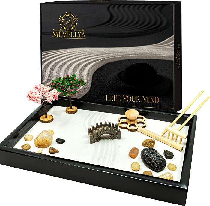 Zen Garden Kit - Beautiful Japanese Zen Garden - 11x7 Inches Zen Garden for Desk - Zen Garden Sand Kit - Zen Decor - Desktop Zen Garden - Gift for Women - Meditation Decor - Gift for Her