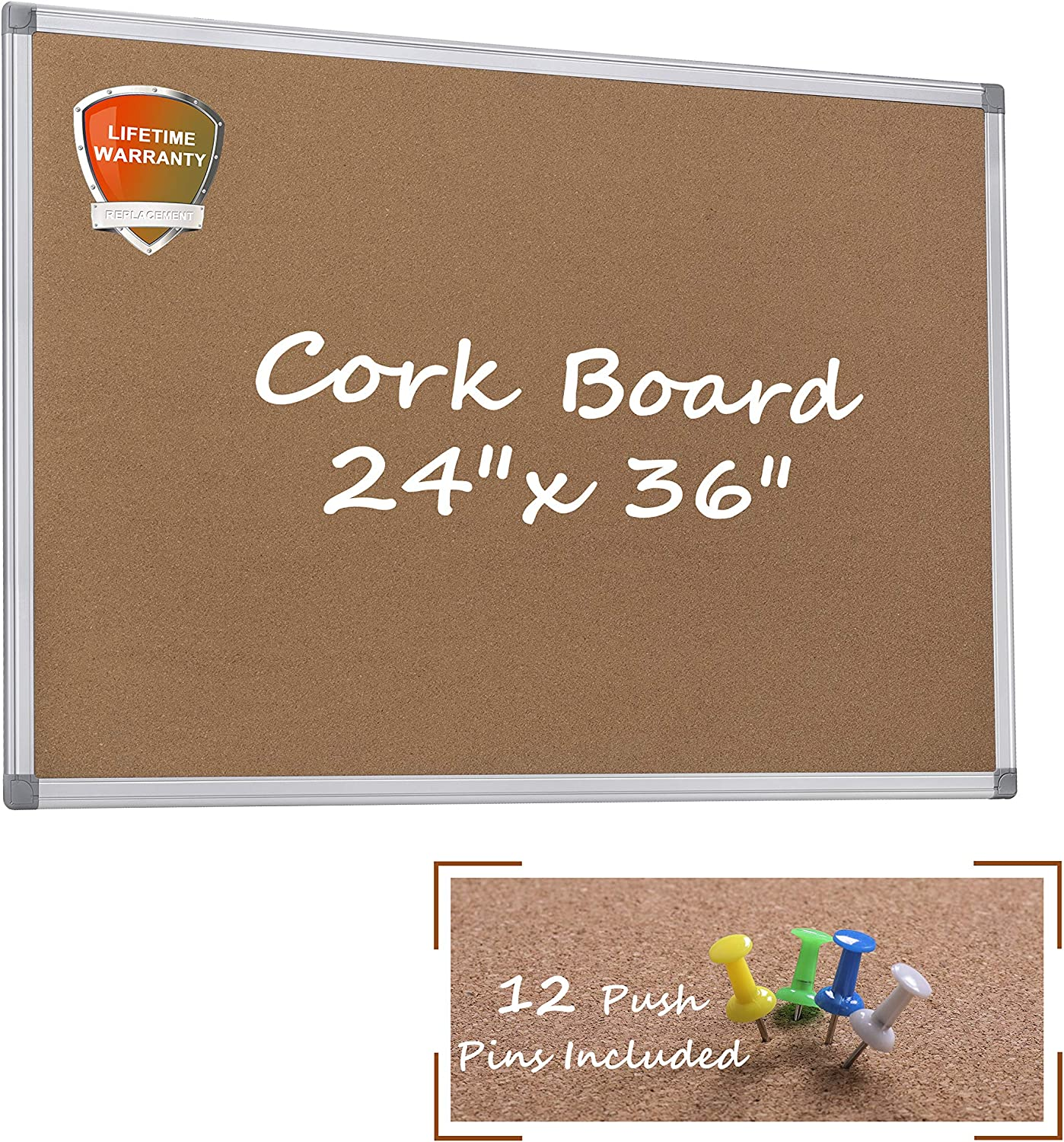 Cork Bulletin Board, 24 x 36 Aluminum Framed Notice Board Wall Mounted with Pins for Home, Office and School