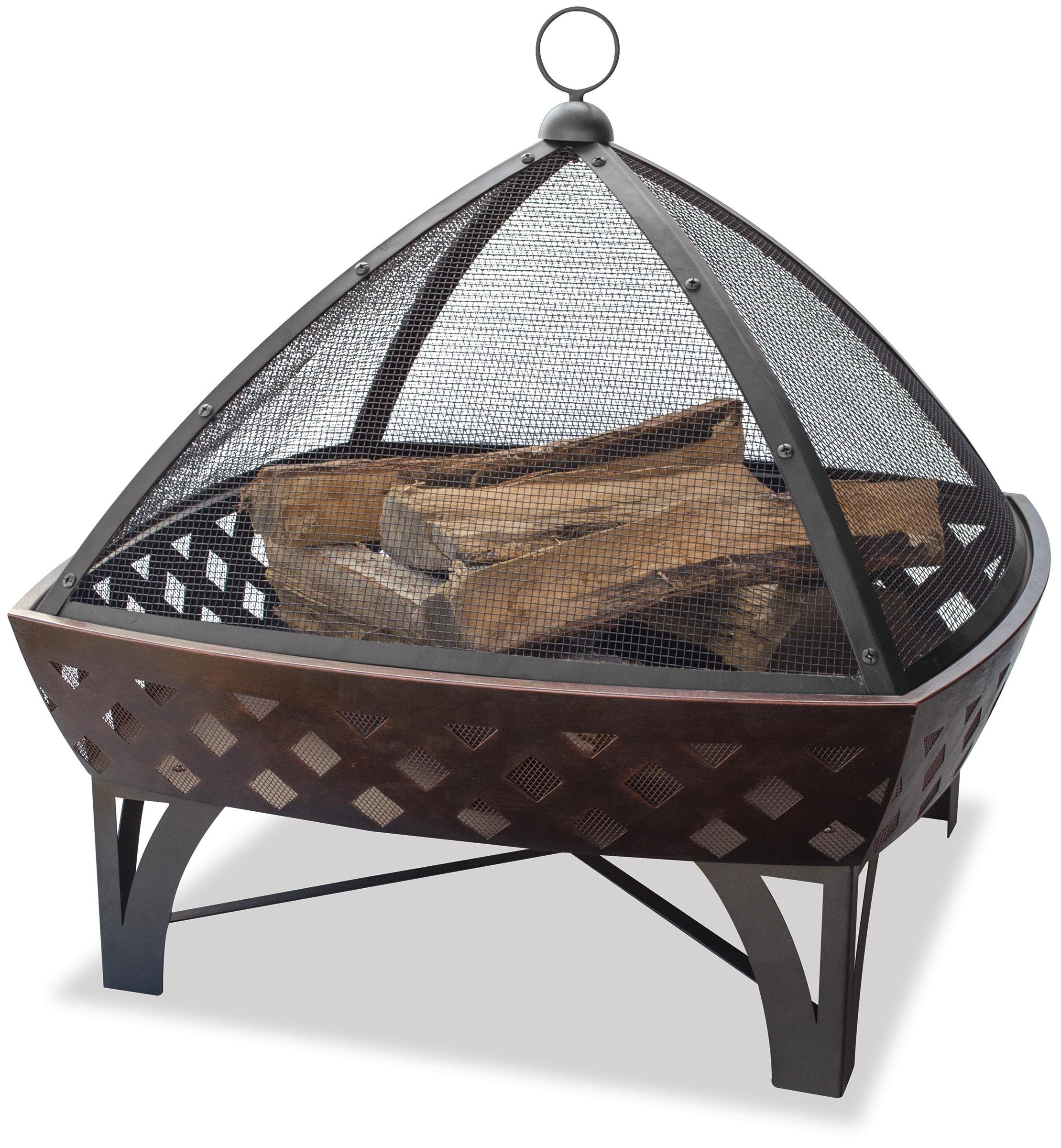 Endless Summer, WAD1401SP, Outdoor Fire Bowl with Lattice, Oil Rubbed Bronze - 29.5 in. diameter bowl Wood burning for convenient heating Spark guard included for safety - patio, outdoor-decor, fire-pits-outdoor-fireplaces - 91sE0B4rogL -