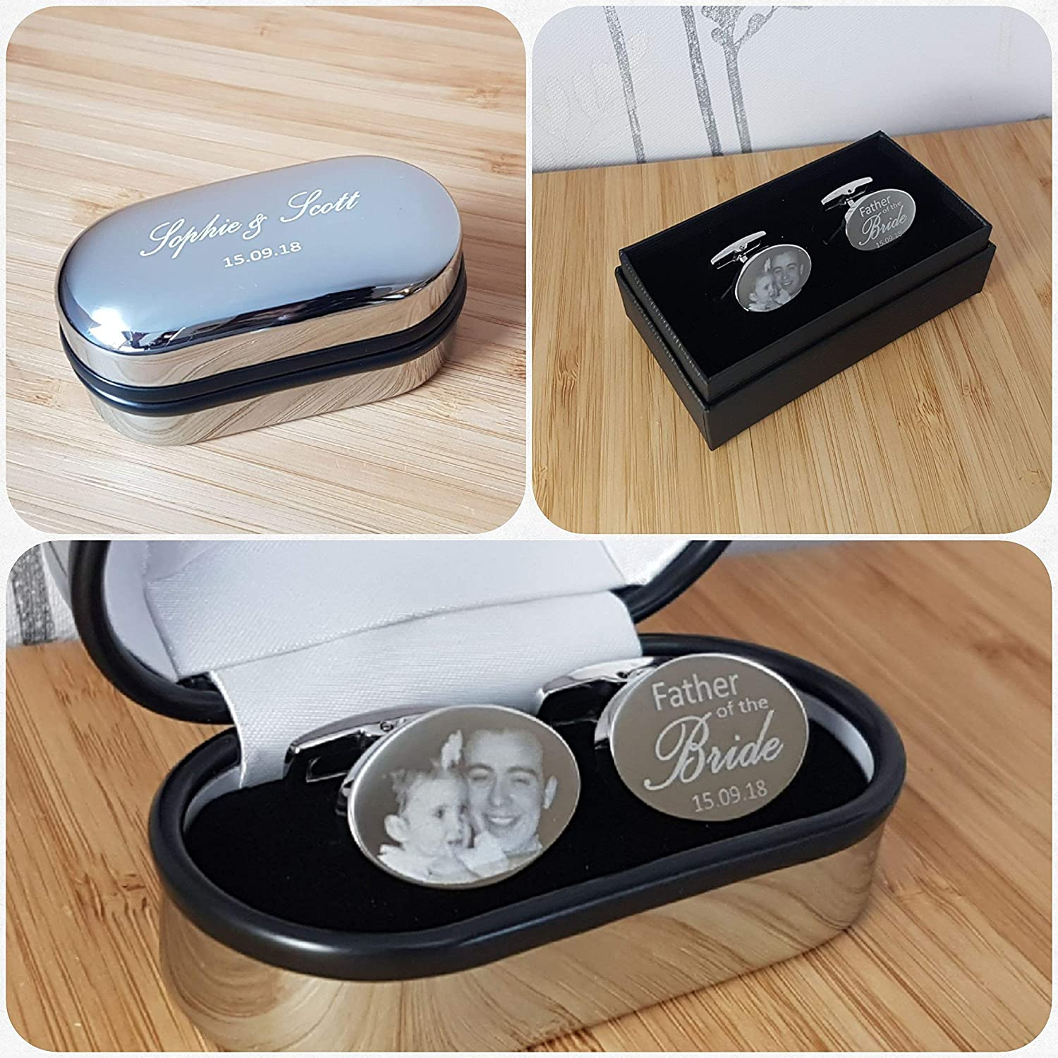 Hand and footprints and Text Engraved with Photos Wedding Favours Groom Gifts for Him Valentines Birthday Usher Father of the Bride Gifts Wedding Cufflinks Personalised