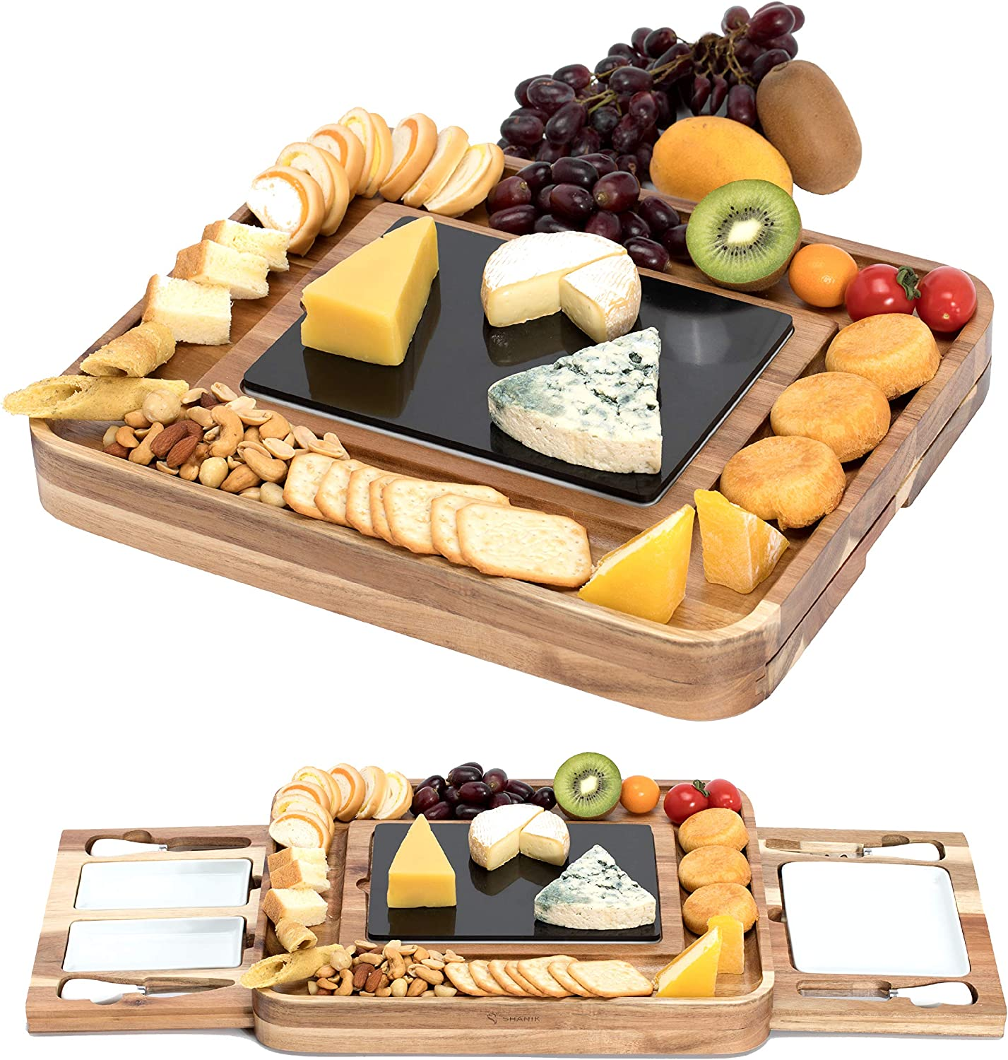 Shanik Acacia Cheese Board Set, Square Shaped Charcuterie Set, Cheese Platter with 2 Slide-Out Drawers, Stainless Steel Cutlery Set, Double Sided Marble Blade, Excellent Gift for any Occasion (Acacia)
