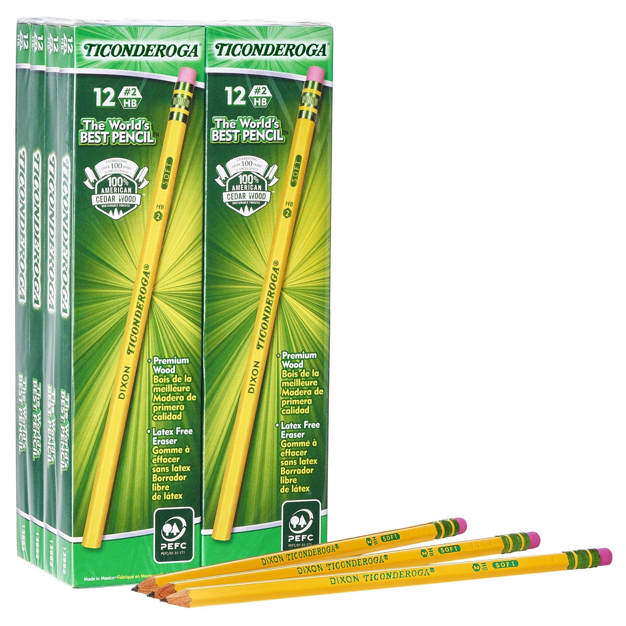 Dixon Ticonderoga Wood-Cased #2 HB Pencils, Box of 96, Yellow (13872)