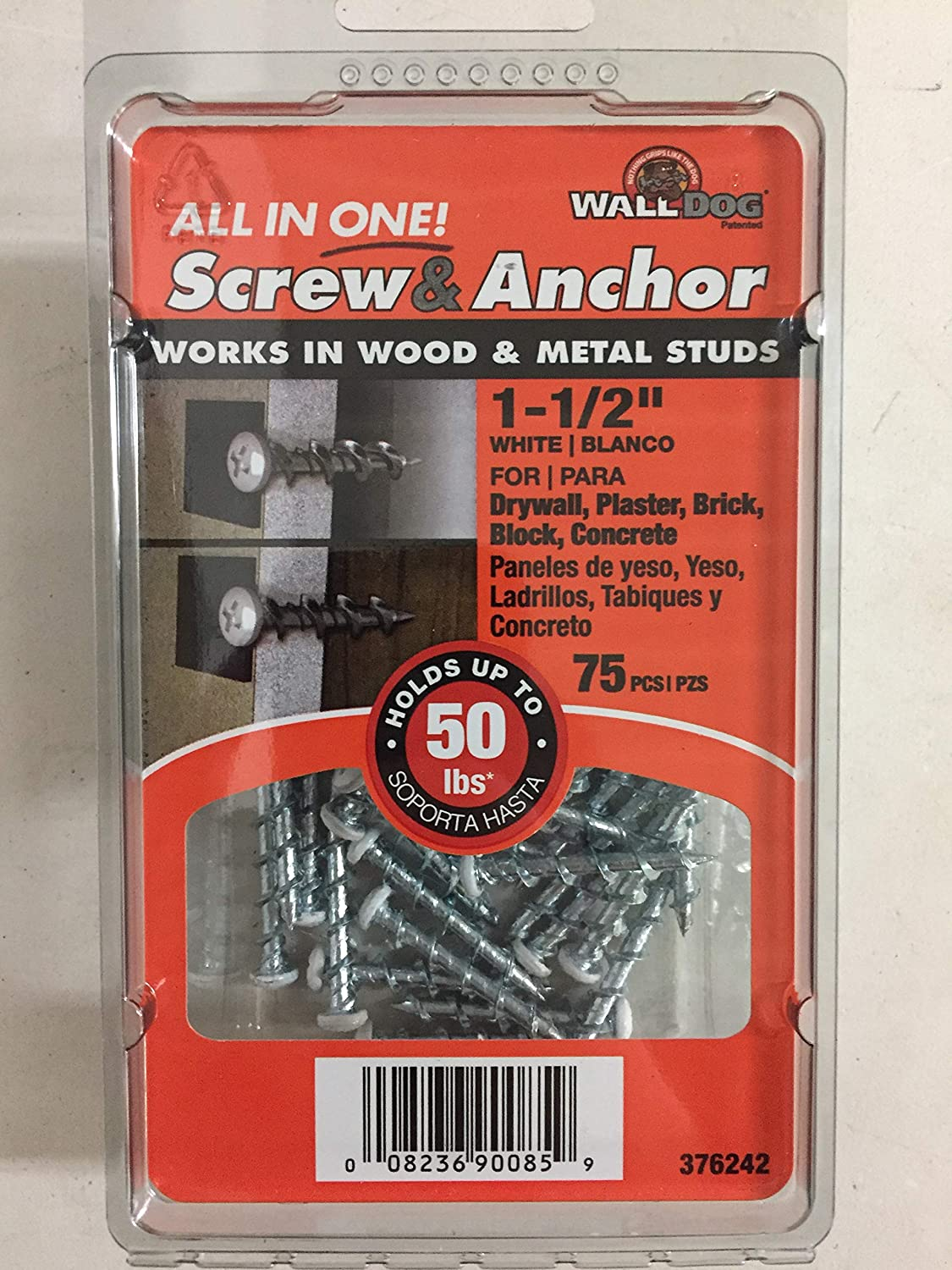 3 Pack The Hillman Group Wall Dog 376242 1-1//2 in Hi-Lo Steel Pan-Head Phillips Anchors 75-Count