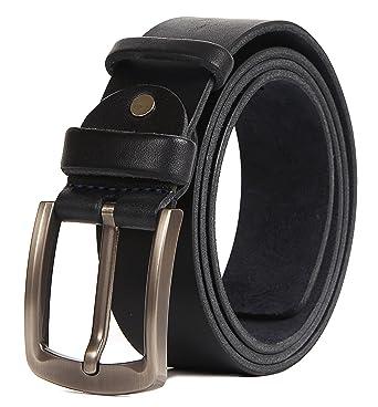 fd75b0d788c334 Men Leather Belt Solid Full Grain Leather Allergy Free Buckle 1.5 inch 10  oz Strap (