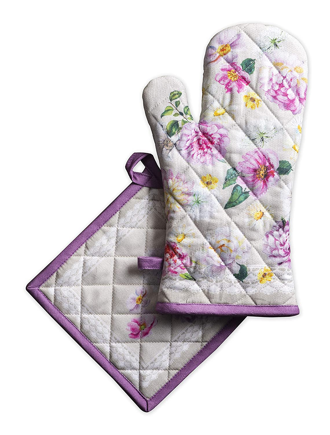 Maison d' Hermine Pivoine 100% Cotton Set of Oven Mitt (7.5 Inch by 13 Inch) and Pot Holder (8 Inch by 8 Inch).