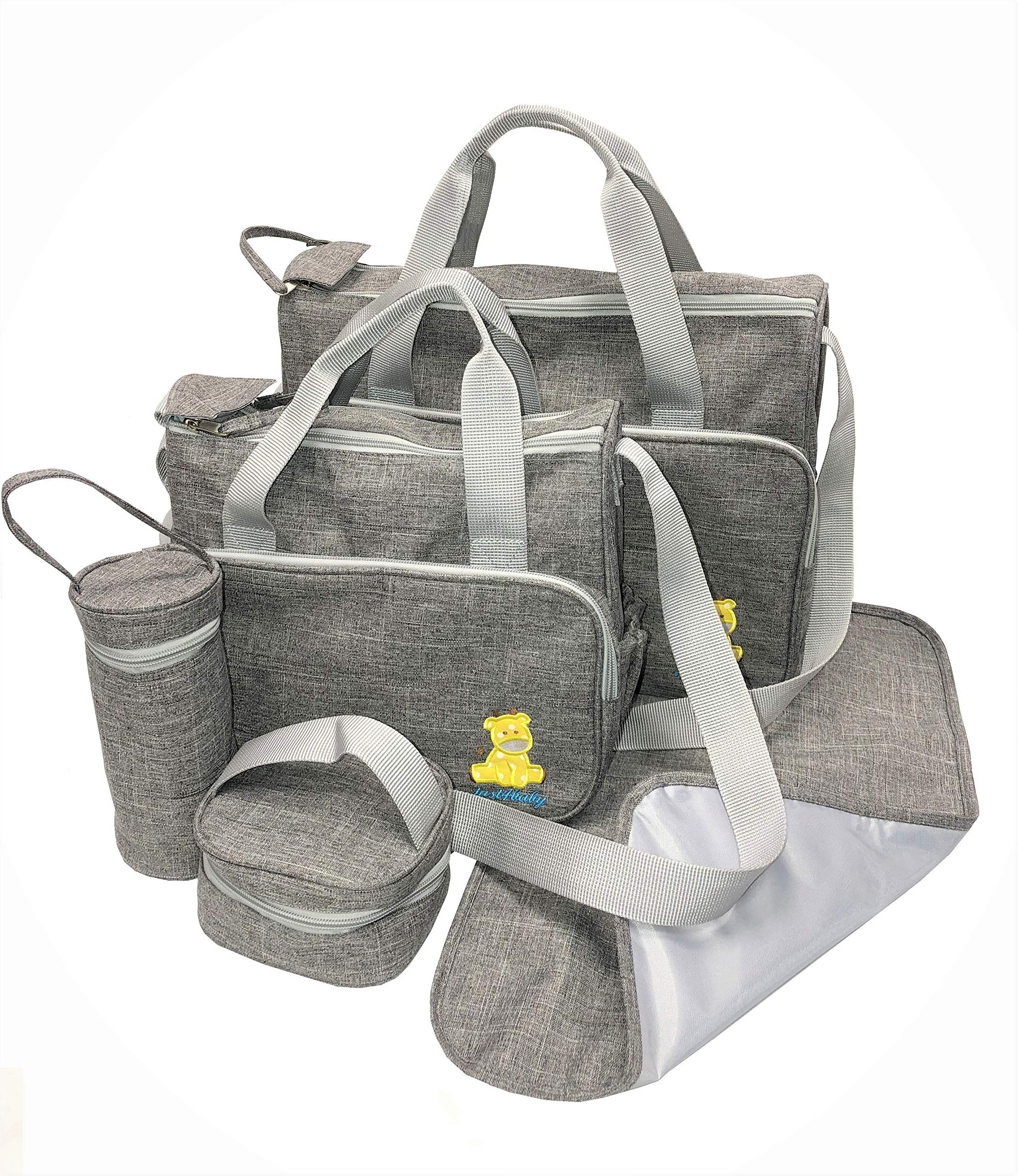 Just4baby 5pcs Waterproof Grey Large Baby Nappy Diaper Changing Bags Bag Mat 508