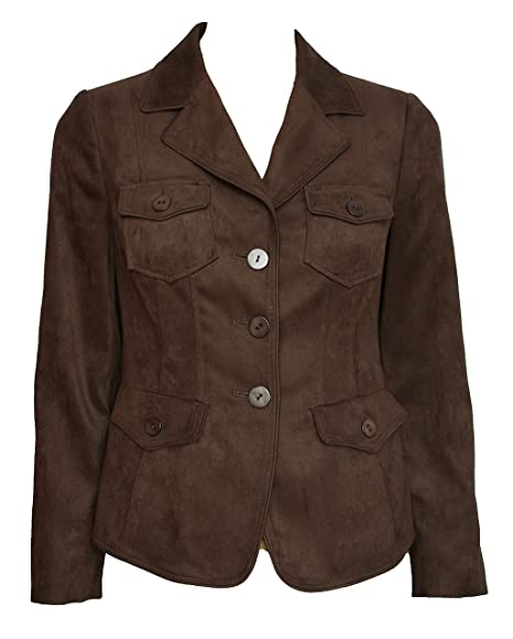 0b0b74d8b5156 Viyella Ladies Petite Single Breasted Faux Suede Suedette Fitted Jacket.  Size 8 (8)  Amazon.co.uk  Clothing