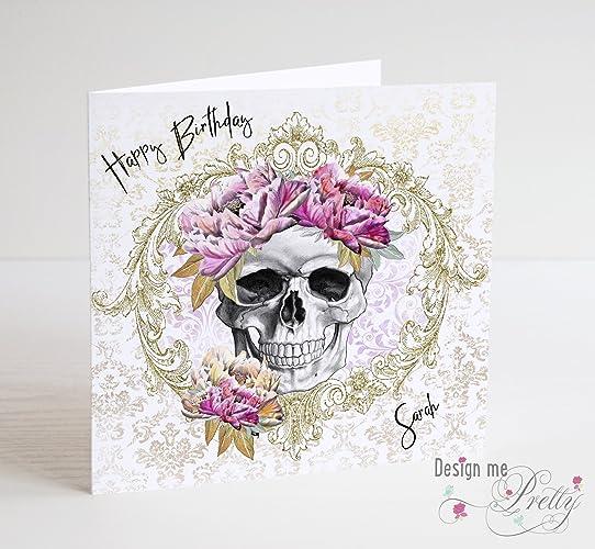 Skull And Flowers Ladies Birthday Card Amazoncouk Handmade