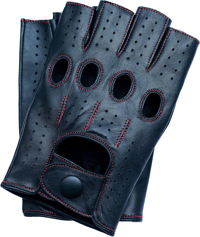 Riparo Motorsports Men's Fingerless Leather Gloves