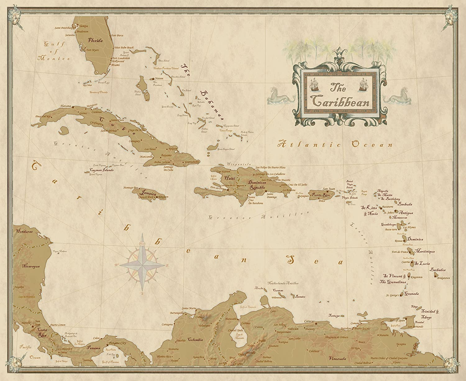 FINE-ART-PRINT-Caribbean-1806-Poster-Paper-or-Canvas-for-home-decor