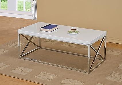 Amazon Com Chrome Metal Wood Cocktail Coffee Table White Kitchen