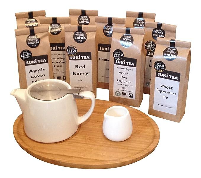 Creamer /& Suki Tea Olive Green Suki Forlife 18oz Stump Loose Leaf Teapot with Bamboo Tray 30g Chamomile