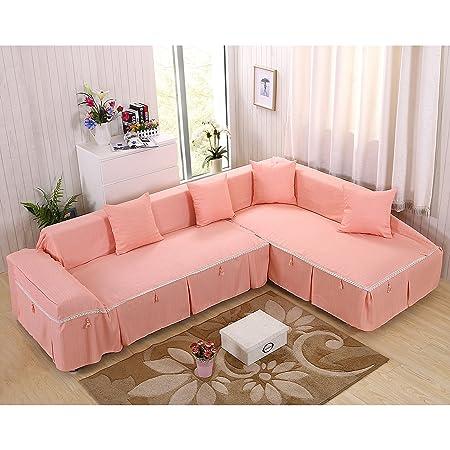 vercart Canape L Shape Corner Sofa Throw Cover, polyester, Orange ...