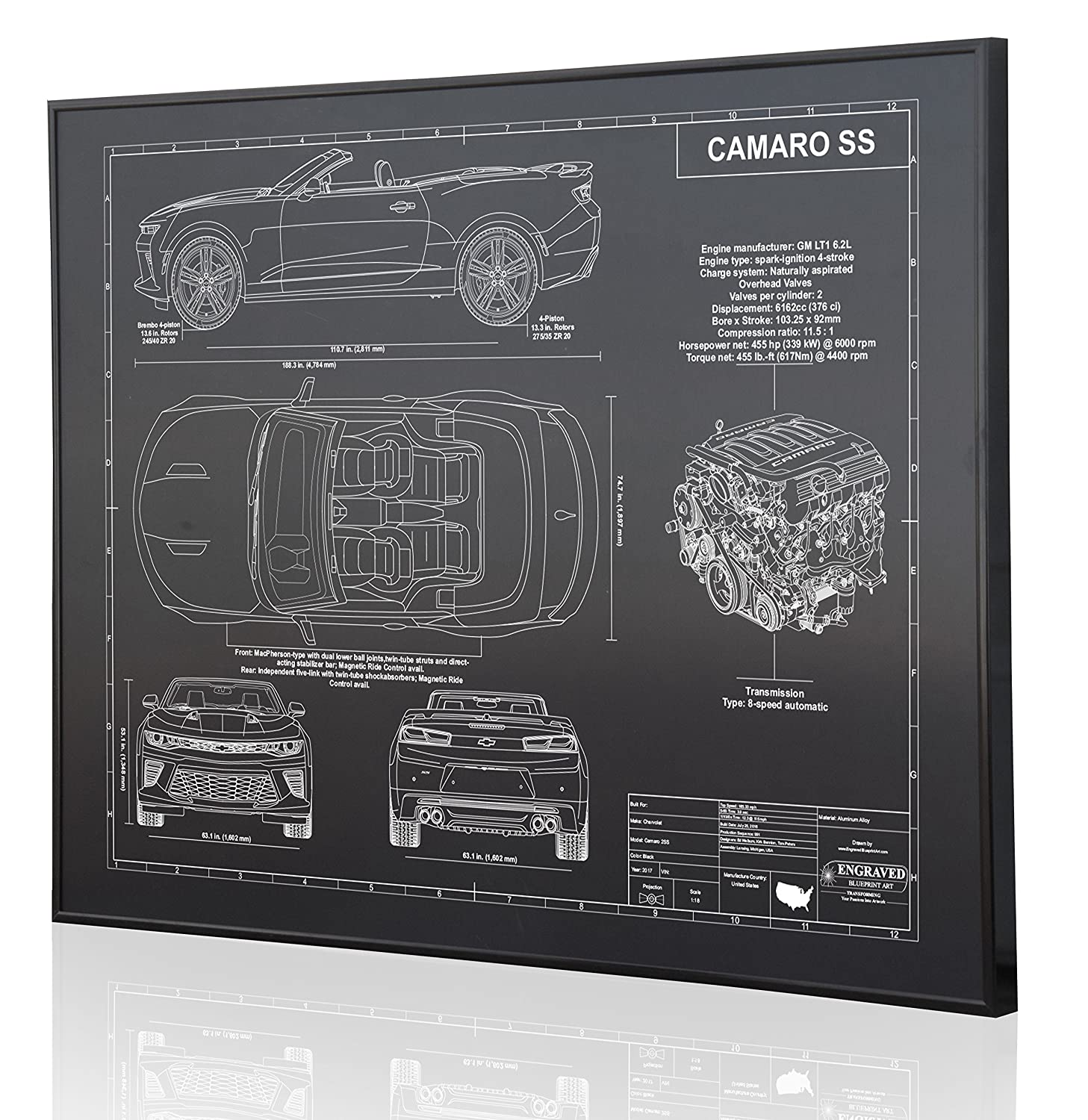 Amazon.com: Chevrolet Camaro SS Convertible 6th Generation Blueprint Artwork-Laser Marked & Personalized-The Perfect Camaro Gifts: Handmade