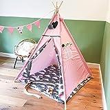 [TIPI ENFANT] Tente d'Indien pour garçon et pour fille - Teepee en toile de coton et en bois parfait pour jouer dehors dans le jardin, à la plage, comme dans la maison - Maisonnette Wigwam pour les enfants très facile à installer (Disponible en blanc et en rose) - Par GadgetQounts