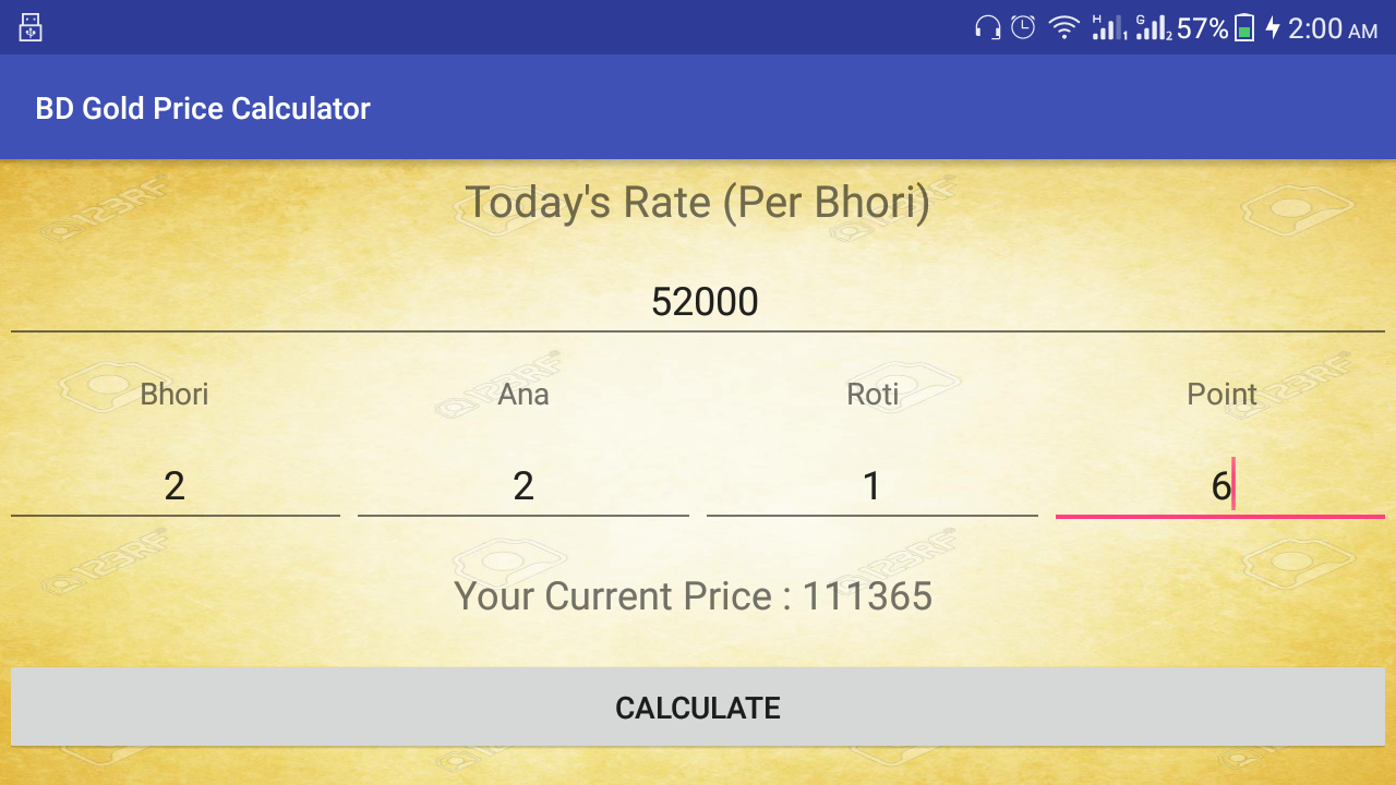 Bd gold price today