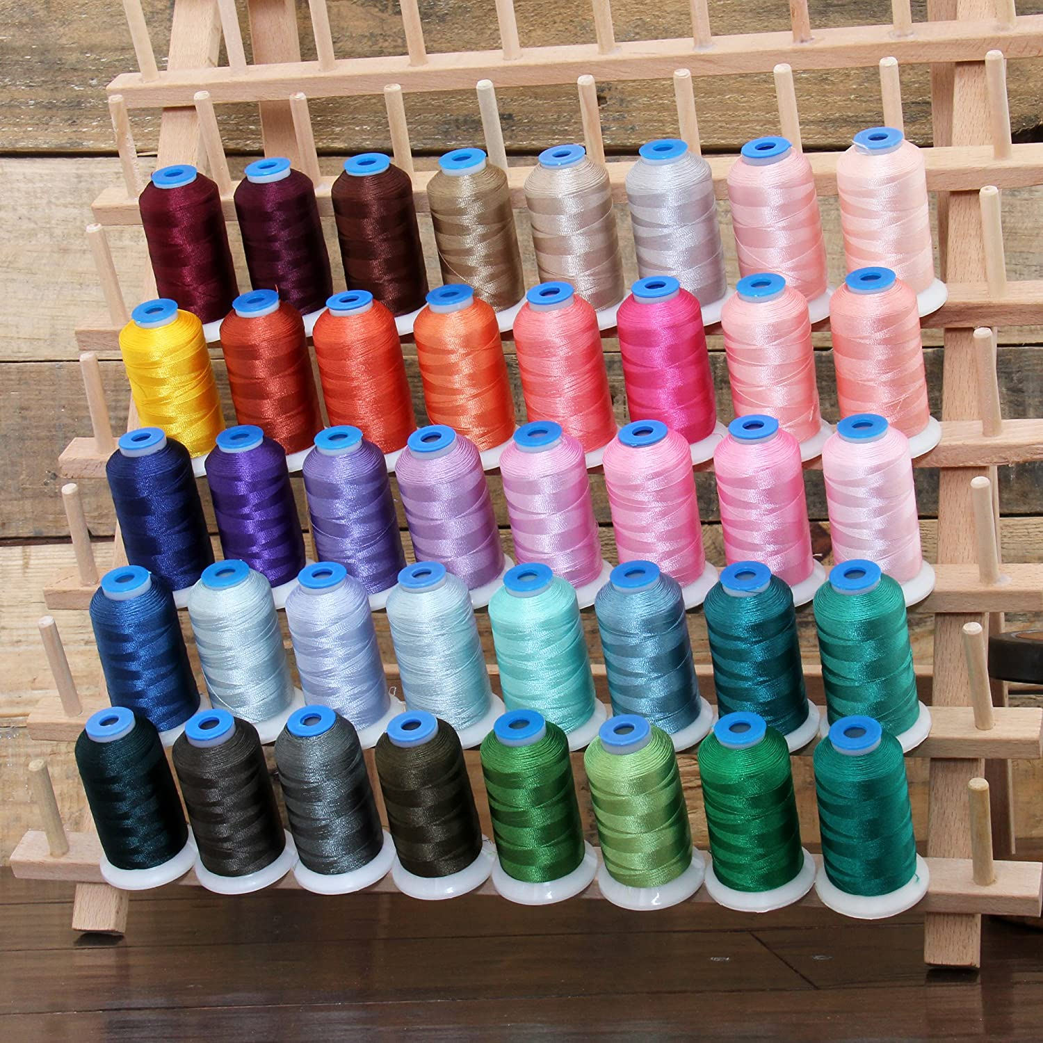40 Cone Rayon Embroidery Thread Set Threadart 1000m Cones Set C Vivid Colors