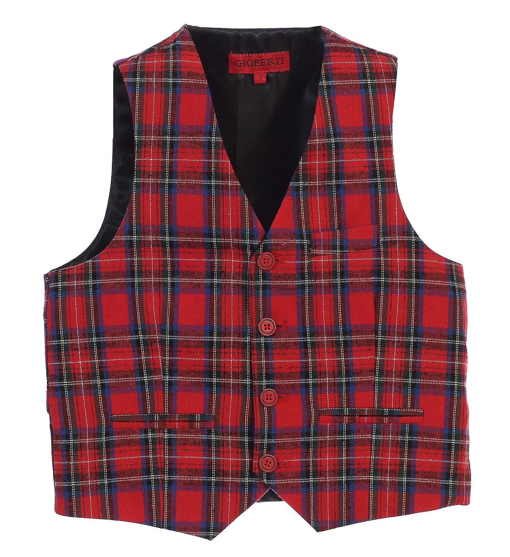 Gioberti Boy's Scottish Tweed Plaid 4 Button Formal Vest China VS-84