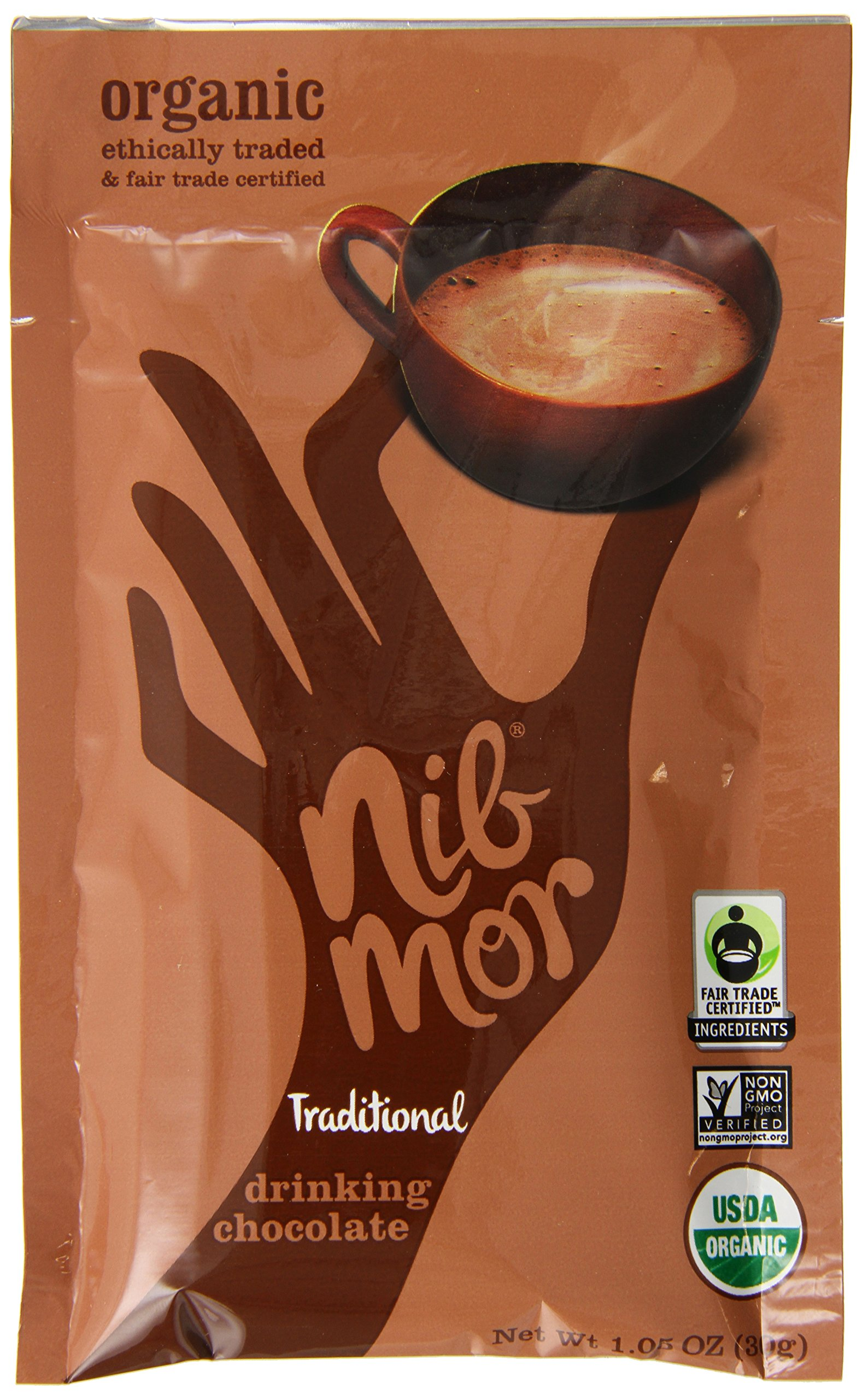 NibMor Organic Traditional Drinking Chocolate, 1.05 Ounce (Pack of 6)