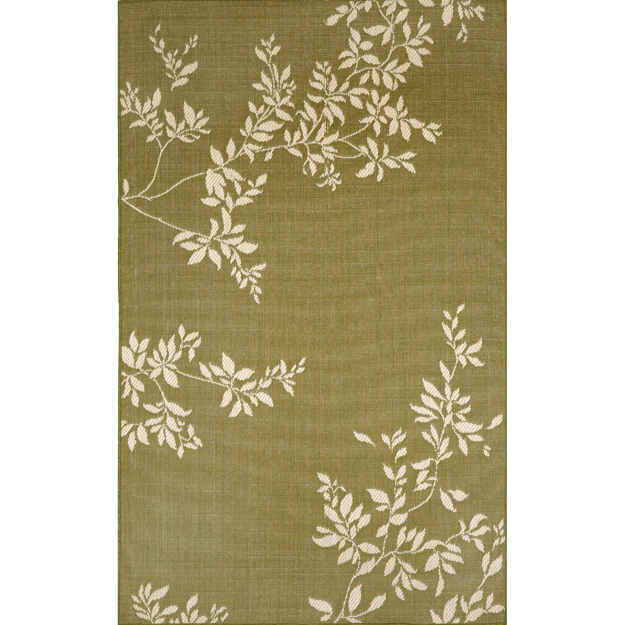 Liora Manne Terrace Vine Rug, Indoor/Outdoor, 7-Feet 10-Inch by 9-Feet 10-Inch, Green