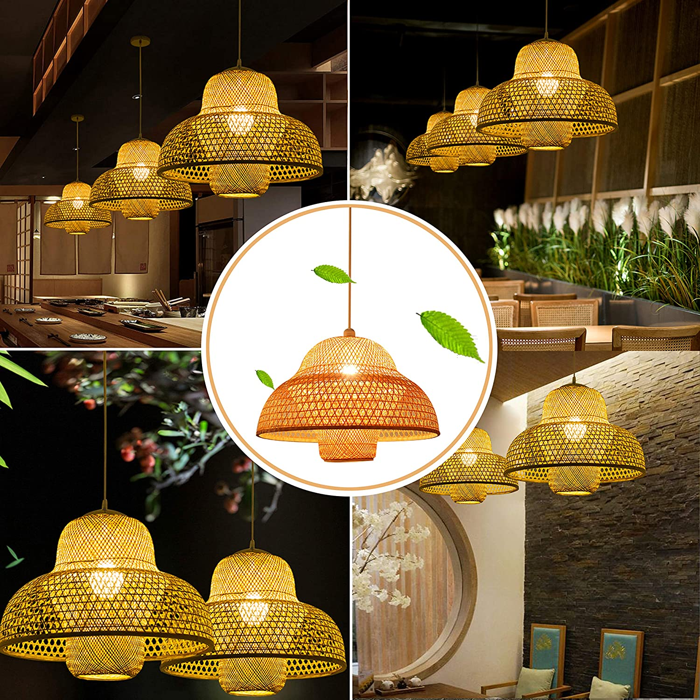 Retro Japanese Style E27 Chandelier Hanging Light Ceiling Lighting Fixture for Living Room Bedroom Restaurant Cafe Tea house Bar Dining Room Club Bamboo Lantern Pendant Lamp 3 Head Light