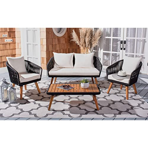 Safavieh PAT7074B Outdoor Ransin Rope 4-Piece Seat Cushions and Pillows Included Patio Set, Black Beige