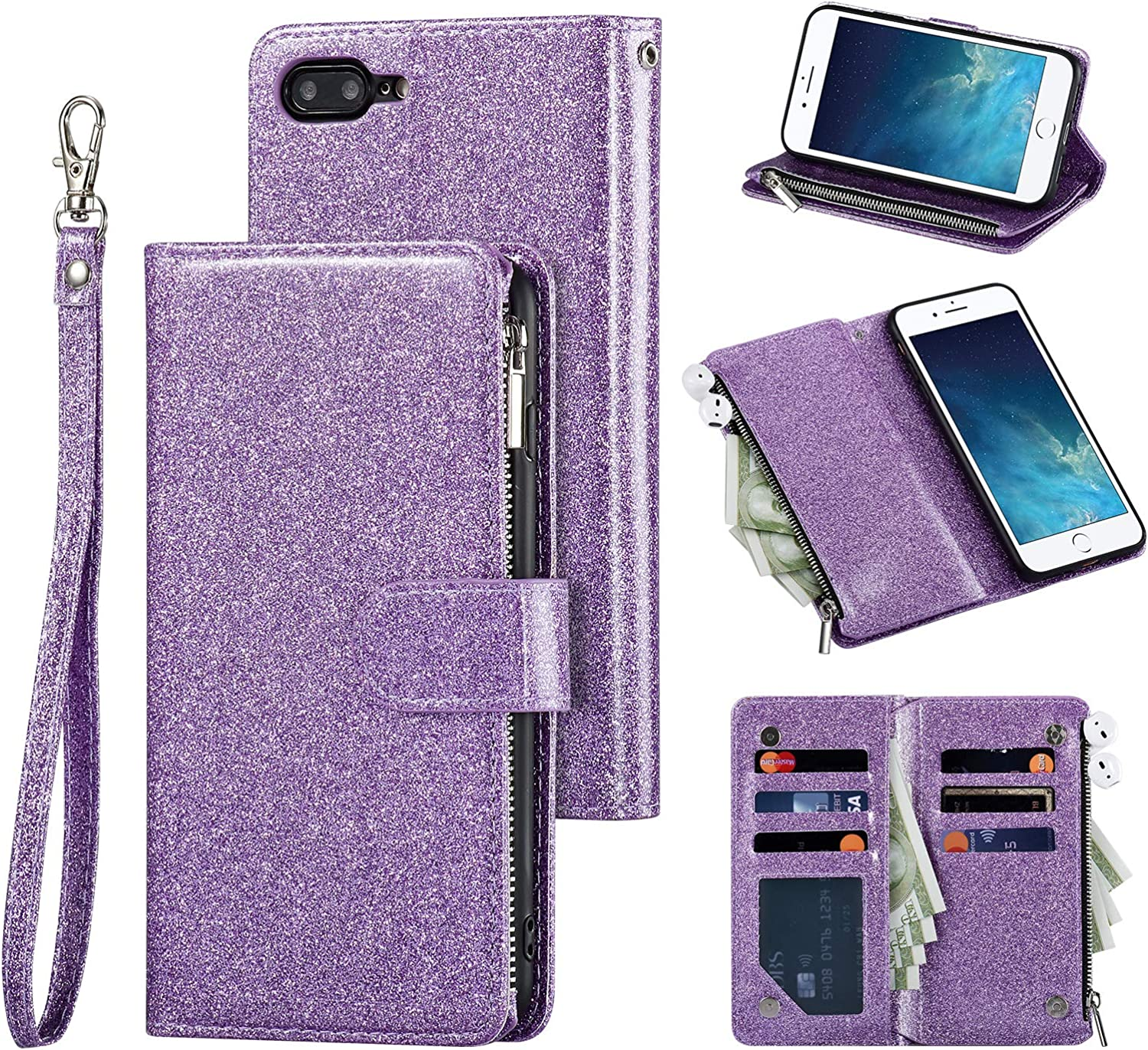 QLTYPRI Wallet Case for iPhone 7 iPhone 8 iPhone SE 2020, Zipper Pocket Wallet Case Premium Glitter PU Leather Card Holder Slots with Kickstand Wrist Strap Magnetic Closure Cover - Purple