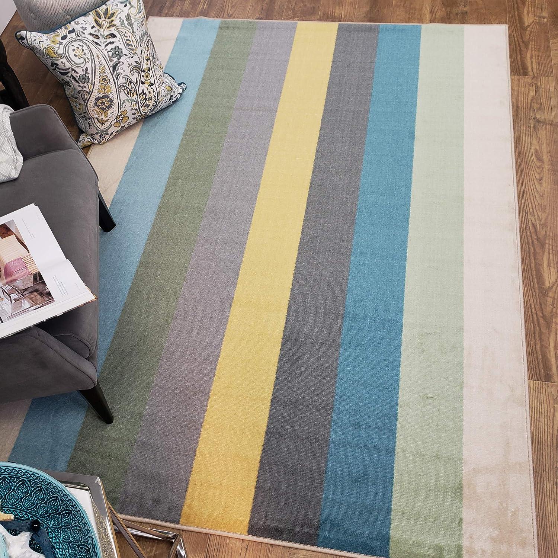 Maxy Home Adaline Stripes Soft Cut Pile Non Slip 3'3