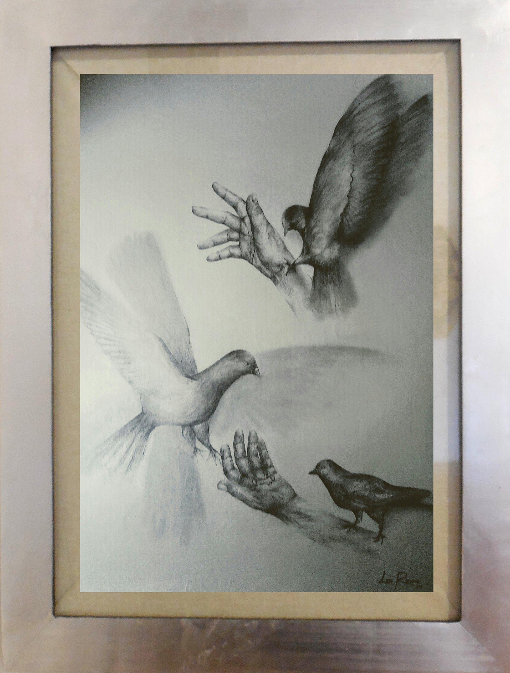 Charcoal Drawing on Sulphated Paper Framed Silver Leaf Original Artwork Handmade