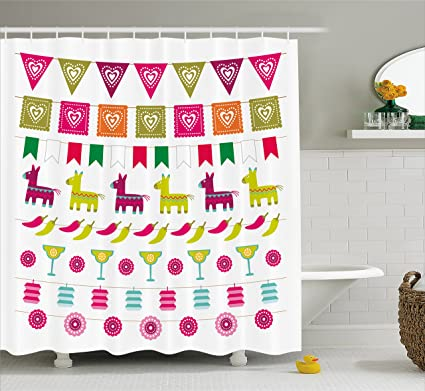 Ambesonne Fiesta Shower Curtain Latin American Motifs Flags Chili Peppers Cocktails Mexican Flag Color Party