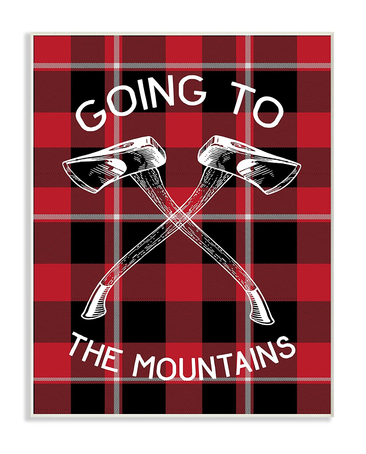 The Stupell Home D/écor Collection Going to The Mountains Axes and Plaid Framed Giclee Texturized Art 11 x 14