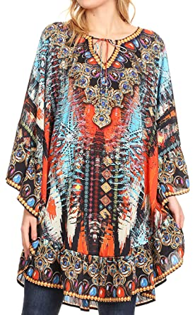 0e3aedc0cc993 Sakkas 1819 - Delu Women's Loose V Neck Blouses Top Tunic with Ruffles and  Rhinestone -