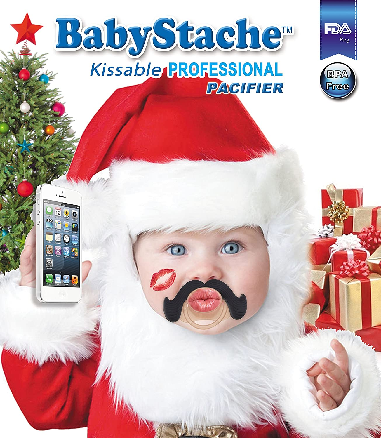Amazon.com: babystache Kissable Baby Pacifier, FDA Listed ...
