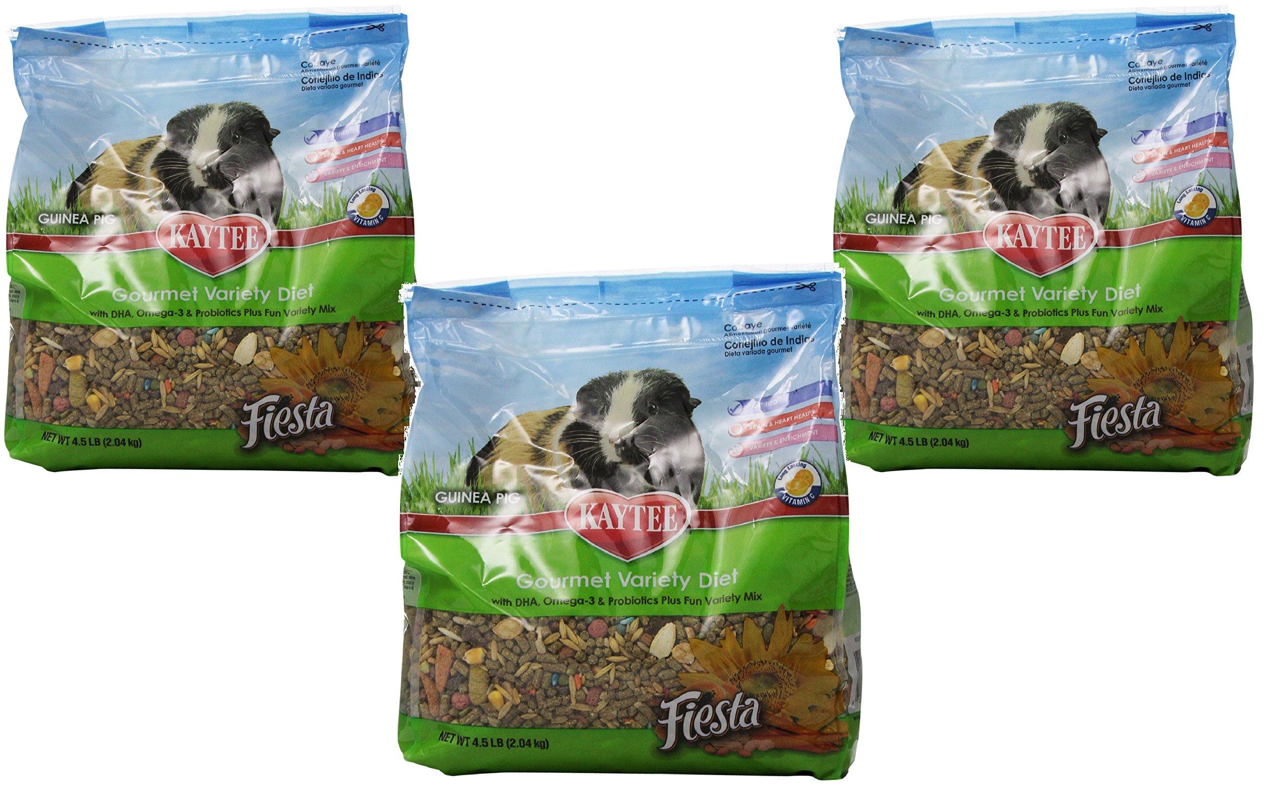 (3 Pack) Kaytee Fiesta Max Guinea Pig Food, 4.5 Pound Bags