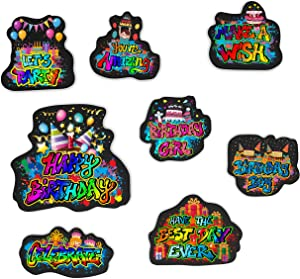 Happy Birthday Magnets| Graffiti Design| 8 Pack |Refrigerator Magnets| Embossed Magnets for School Lockers, Accessories, Office, And Fridge