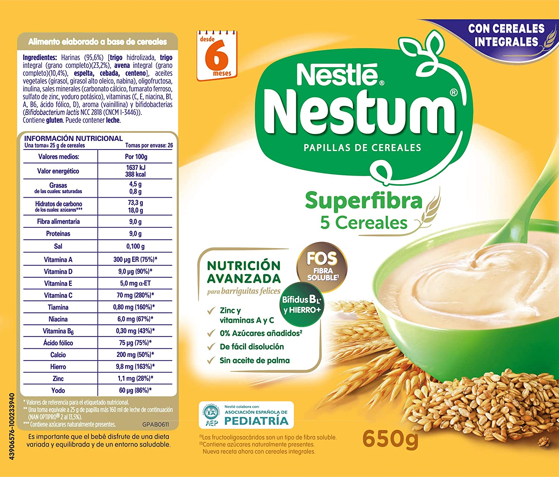 Nestlé Papillas NESTUM Cereales para bebé - 5 Cereales - 3 ...