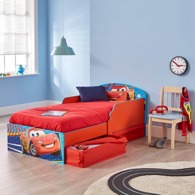 59.00x142.00x77.00 cm Cars Infantil con Espacio de Almacenamiento Debajo de la Cama Azul y Rojo Madera