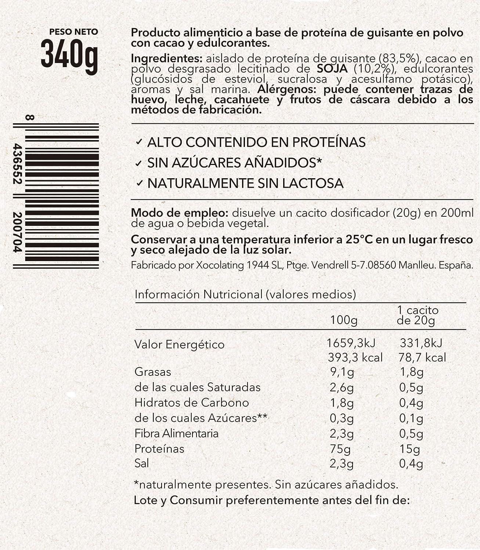 BODY GENIUS Vegan Protein (Chocolate). 340g. Proteína Vegana. Proteína de Guisante Aislada y Sostenible. Sin Azúcar Añadido y Con Estevia. Proteína ...