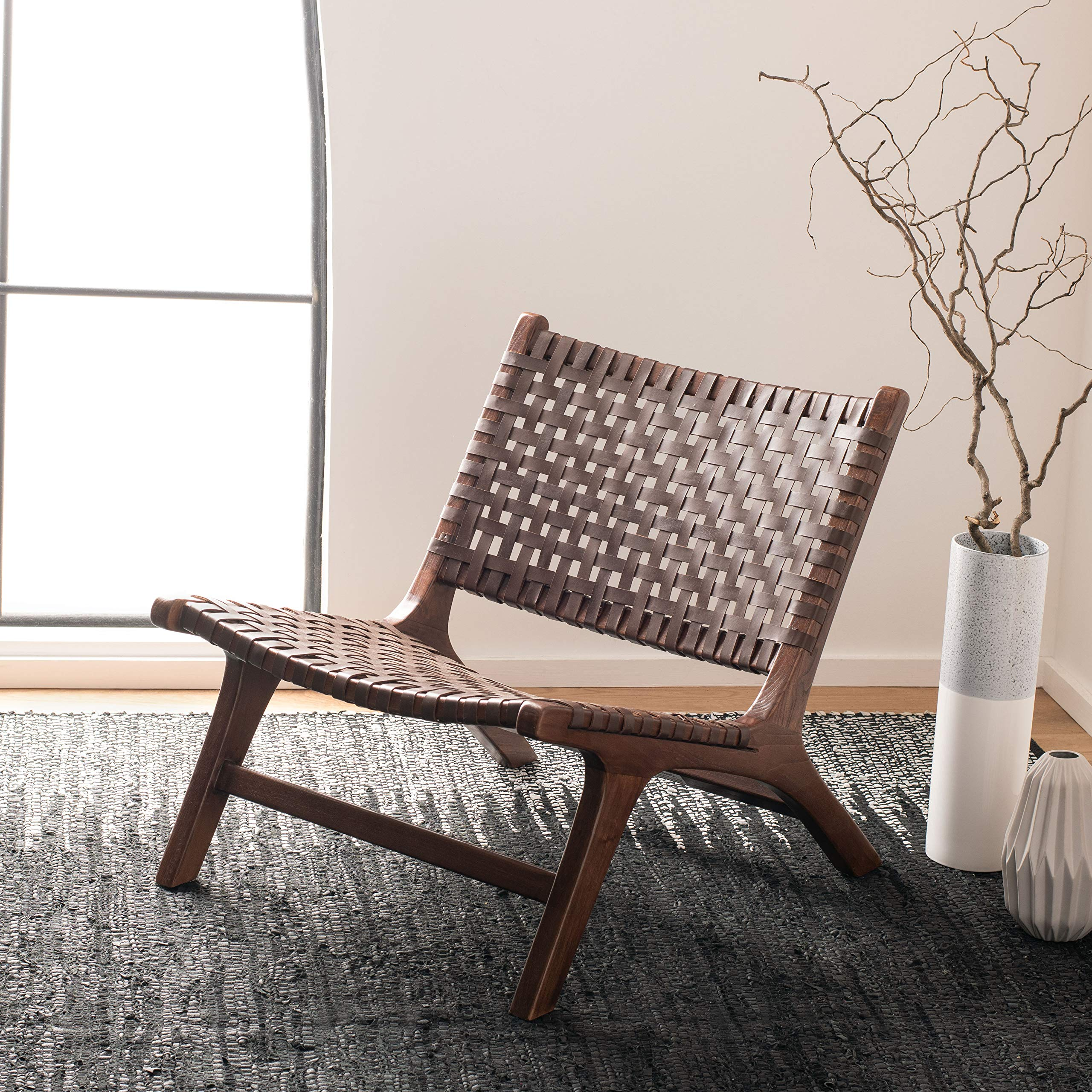 Safavieh Home Luna Brown Leather Woven Accent Chair, by Safavieh